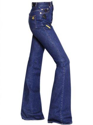Женские темно-синие джинсы клешем
