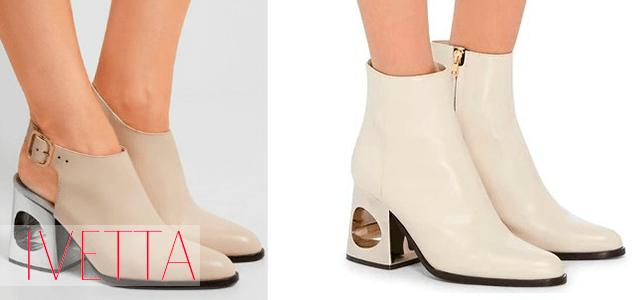 Белые ботинки на нетривиальном каблуке