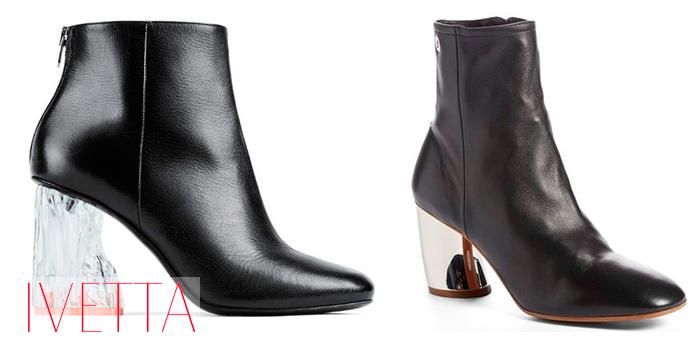 Черные ботинки на нетривиальном каблуке