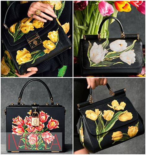 Женские черные сумки с тюльпанами