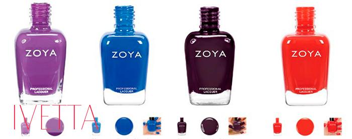 Четыре ярких лака для ногтей zoya