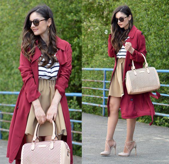 Девушка в бежевой юбке и в красном пальто