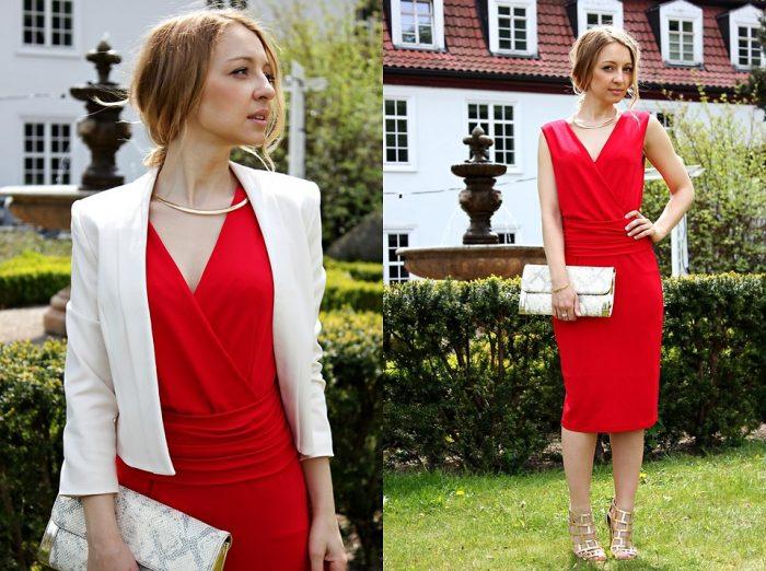 Девушка в красном платье и в белом пиджаке