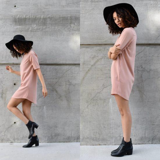 Девушка в платье, ботильйонах и шляпе