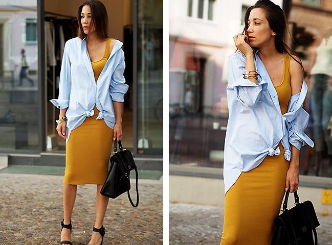Девушка в желтом платье и сверху в рубашке