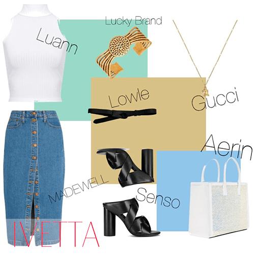 Джинсовая юбка миди,белая кофта, босоножки на каблуке и бижутерия