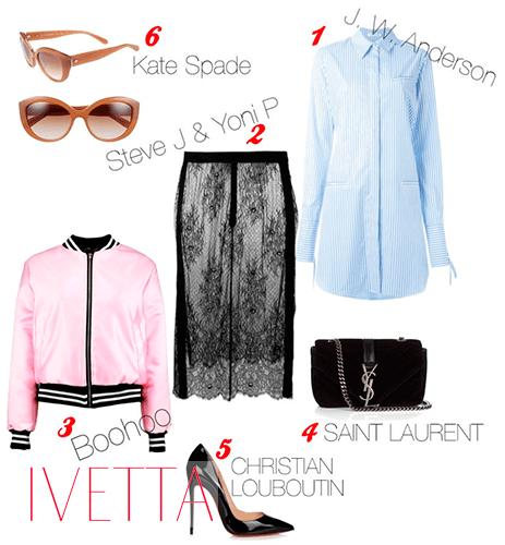 Голубое платье-рубашка, розовый бомбер, кружевная юбка,очки,туфли и сумка