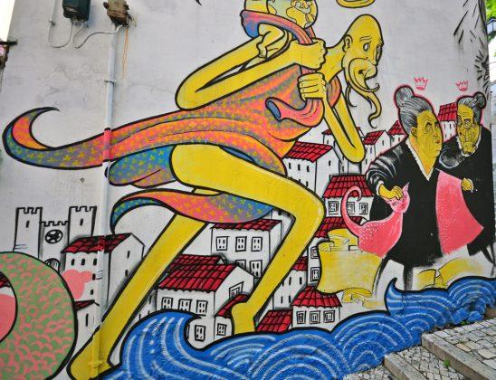 Граффити на стене дома Лиссабона