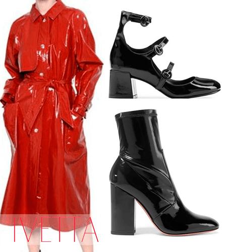 Красное пальто, черные ботинки и босоножки из лакированной кожи