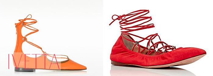 красный и оранжевый балетки