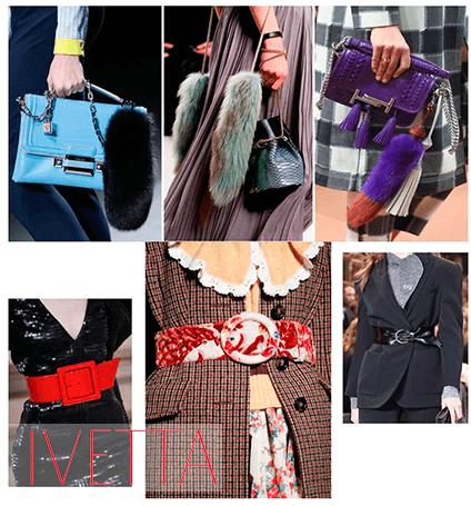 Пояса на девушках и сумочки в женских руках