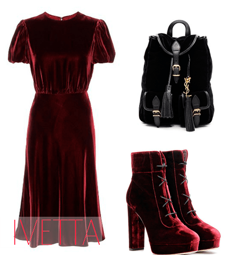 Платье, ботинки и рюкзак из бархата