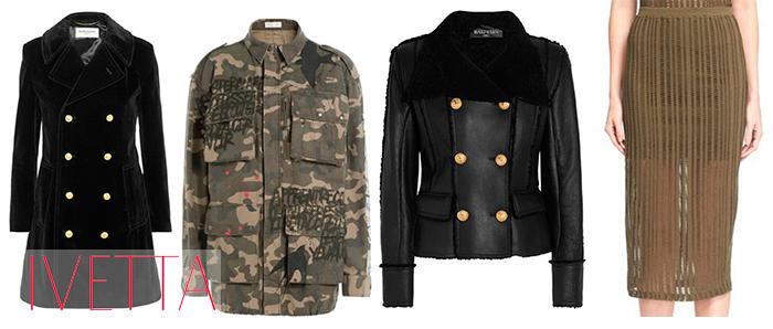 Полупрозрачная юбка, ветровка камуфляжная, пальто и короткая дубленка