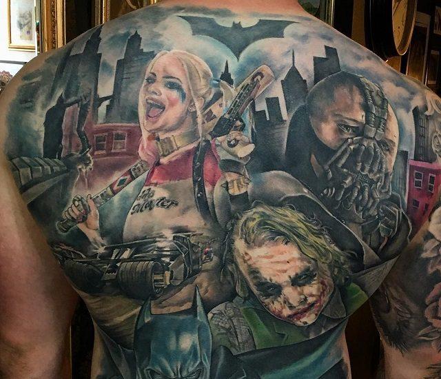 Татуировки героев фильма Отряд самоубийц на спине мужчины