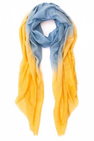 Желто-голубой кашемировый шарф от Popmap