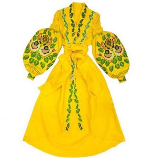 Желтое платье-вышиванка