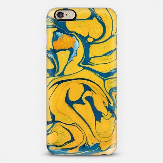 Чехолт для Iphone желтый с разводами