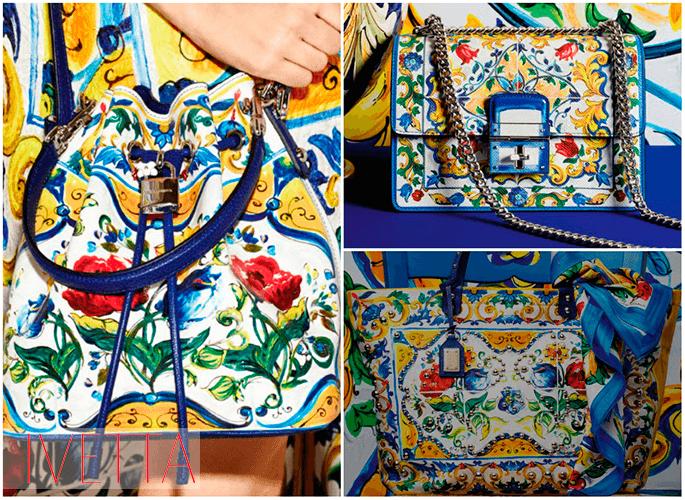 Женские сумки желто-голубой окраски