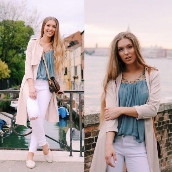 девушка в тренче и белых джинсах