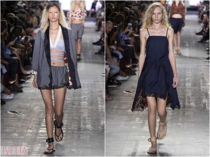 модели показа Александр Вонг в пижаке и платье