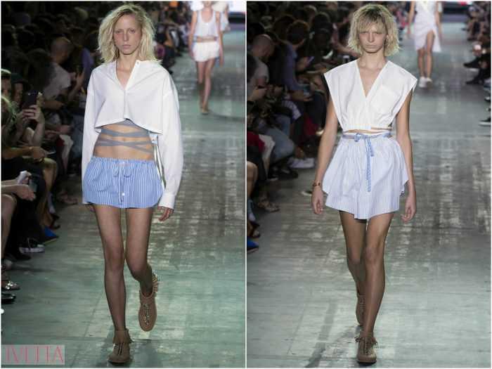 модели показа Александр Вонг в полосатых юбках