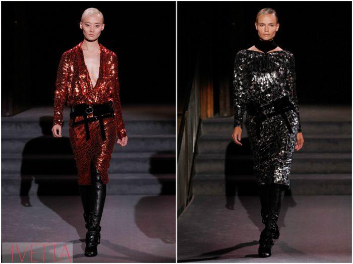 модели показа Tom Ford в блестящих платьях