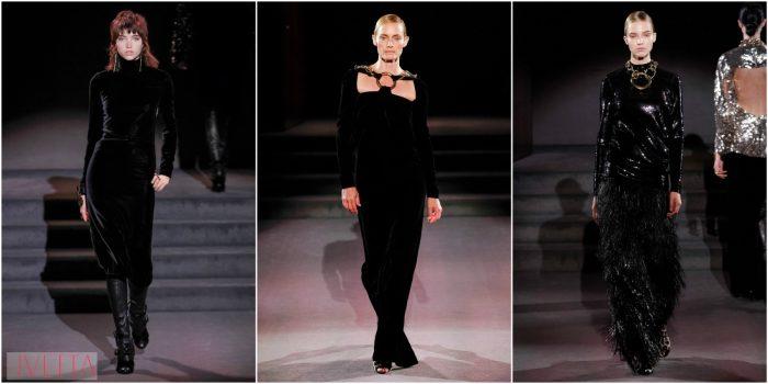 модели показа Tom Ford в черном