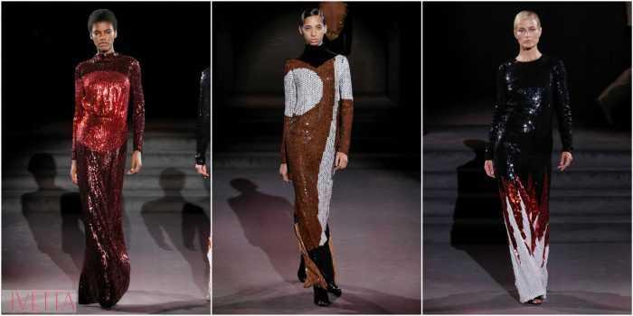 модели показа Tom Ford в длинных блестящих платьях