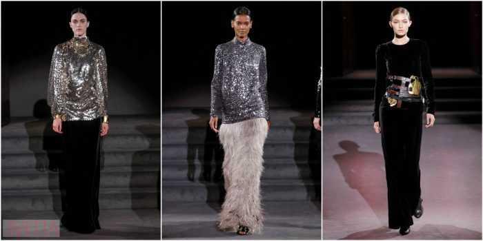 модели показа Tom Ford в длинных юбках