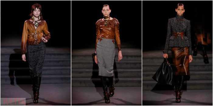 модели показа Tom Ford в кожаных вещах