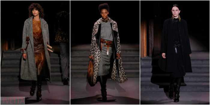 модели показа Tom Ford в пальто