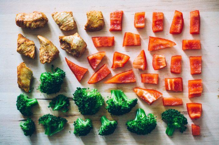 мясо,перец и броколи