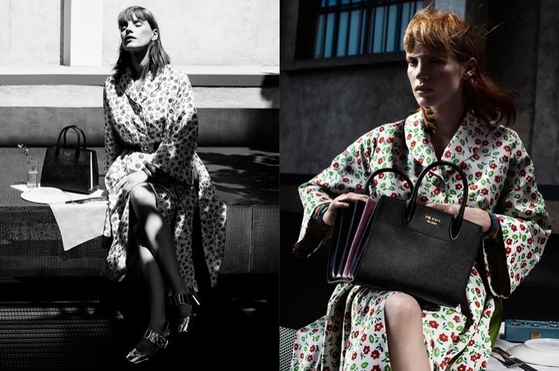 модель в тренче с цветами Prada 2016