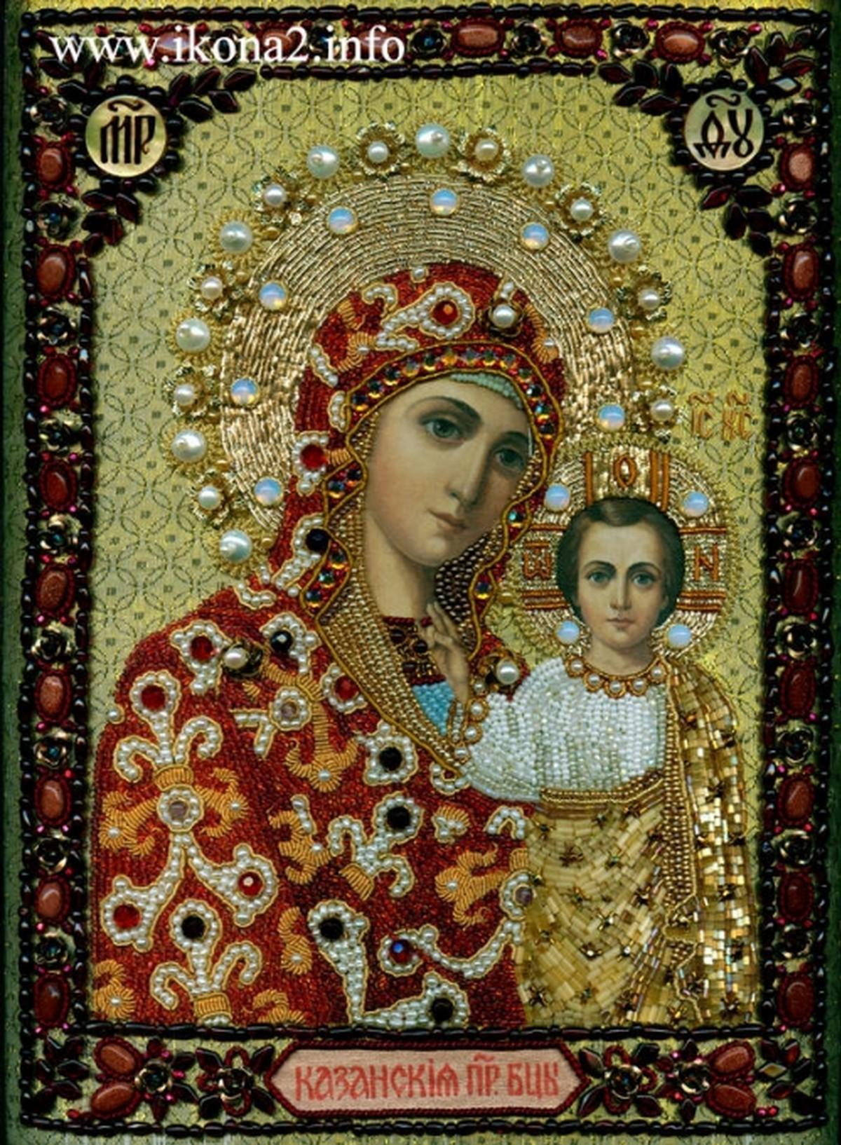Икона Божией Матери Казанская вышитая бисером