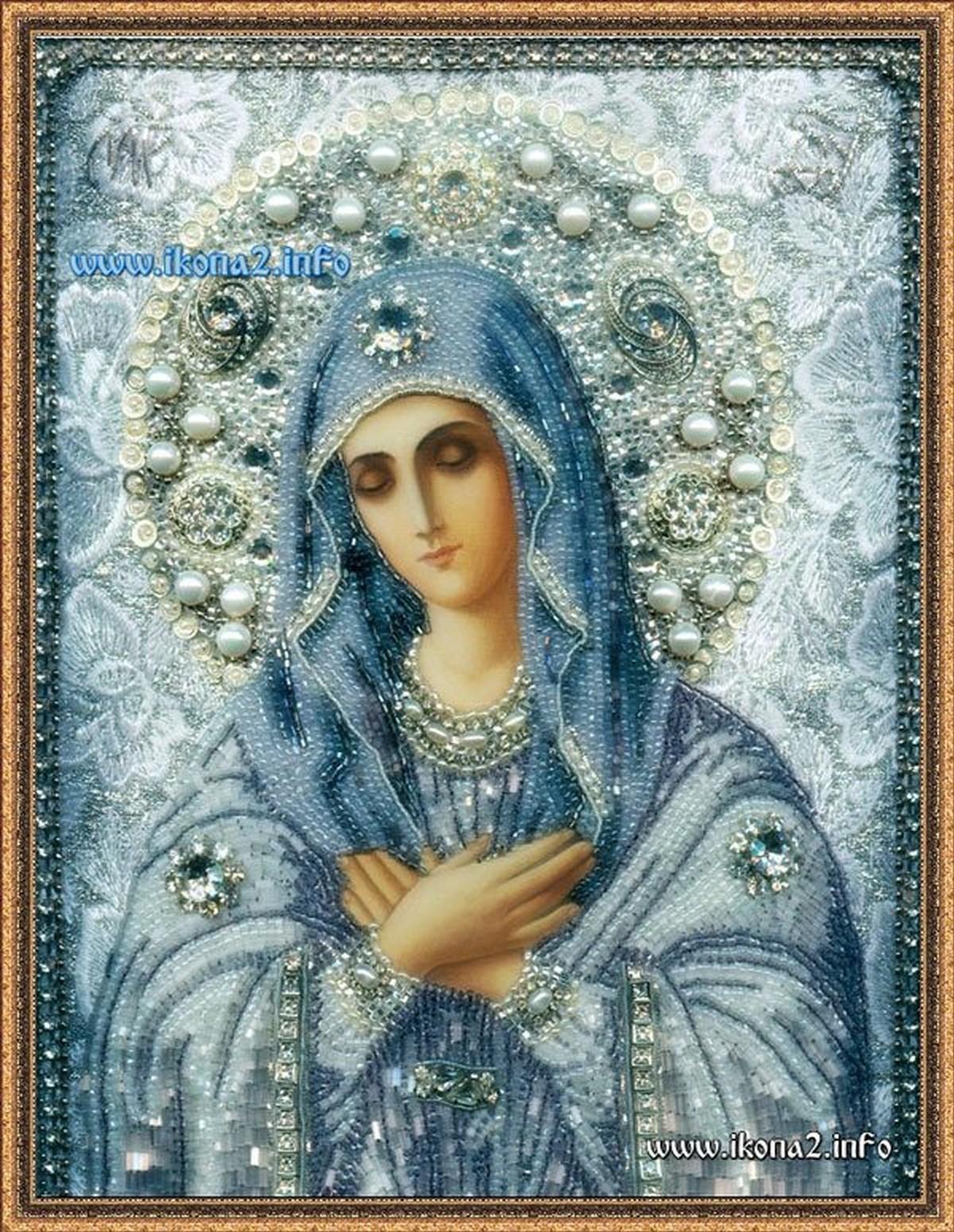 Икона Божией Матери Умиление вышитая бисером