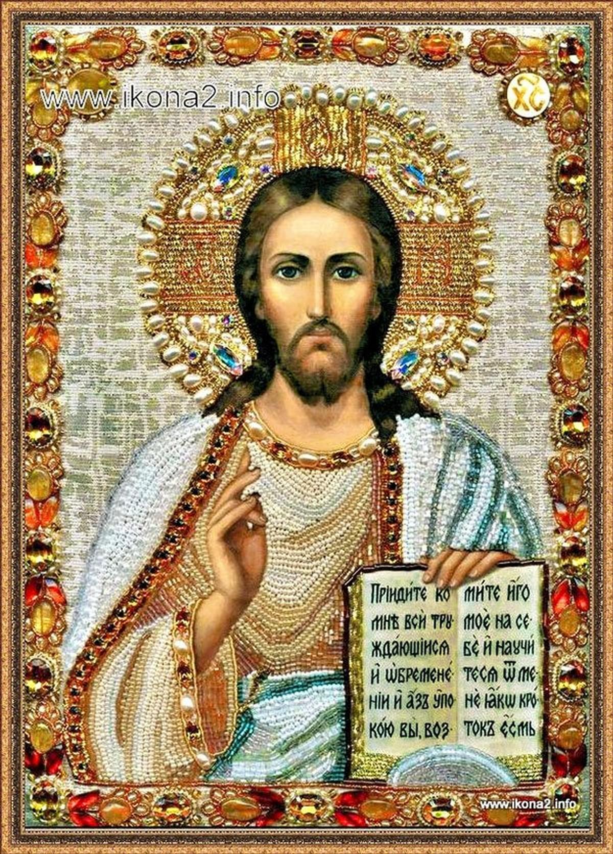Икона Христа вышитая бисером