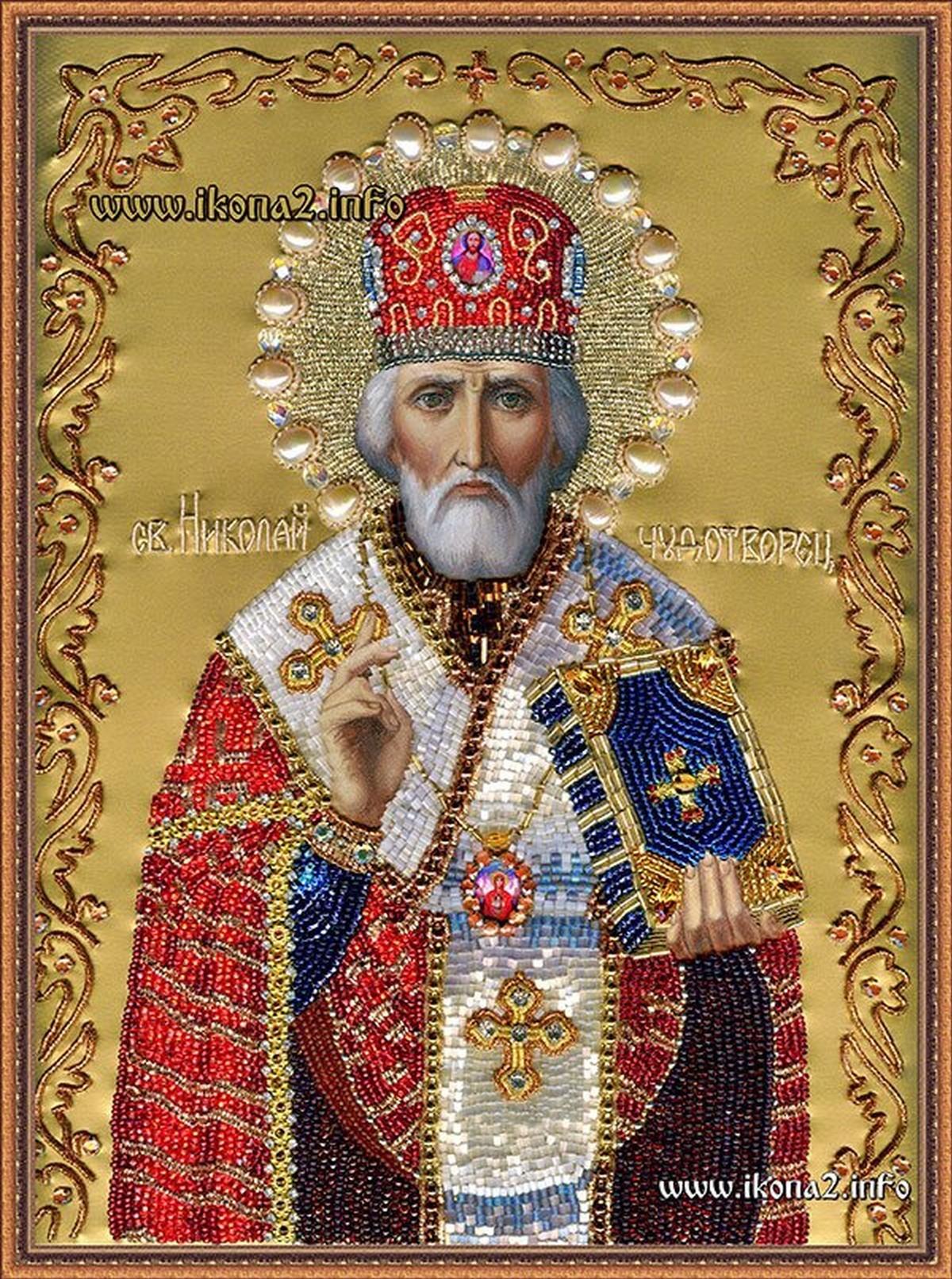 Николай Чудотворец икона вышитая бисером
